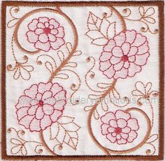 Embroidery Design of Shadow Work Square Blocks