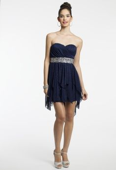 Short Hanky Hem Dress with Sequin Trim from Camille La Vie and Group USA