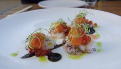 Ocean Umami - sashimi scallop, ikura, sea urchin, pickled wasabi leaf, nori seaweed ponzo at Iyasare -  Berkeley Review