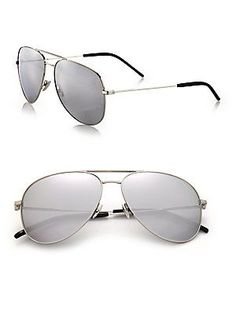 Saint Laurent Classic 11 59mm Oversize Aviator Sunglasses