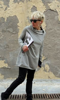 Gray sweater tunic in cotton/maxi by sunflowerdesign on Etsy, €43.00