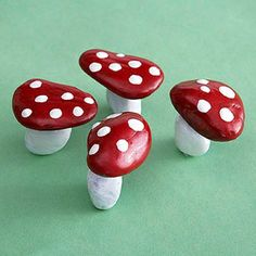Rock Mushrooms::  Make It: Search your backyard or a neighborhood park for smooth rocks, choosing ones with flat surfaces so the mushrooms can stand upright. Have your child paint some rocks red (for the tops) and some white (for the stems). Add white dots to the red tops using paint or stickers. Glue the pieces together with liquid glue.