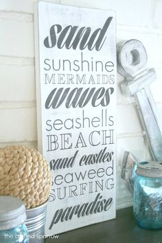 Make beach sign subway art. #beachsigns #subwayart For more great examples of DIY beach signs, click here: http://www.completely-coastal.com/2012/01/art-with-sayings-quotes-words-inspired.html And browse all DIY Beach Art Ideas here: http://www.completely-coastal.com/search/label/DIY%20Wall%20Art