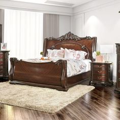Furniture of America Luxury Brown Cherry Baroque Style Sleigh Bed with Nightstand Bedroom Set (Queen Bed) Wood Sleigh Bed, Sleigh Beds, Sleigh Bedroom Set, Bedroom Sets, Bedding Sets, Gray Bedding, Dream Bedroom, Cherry Sleigh Bed, California King Bed Dimensions