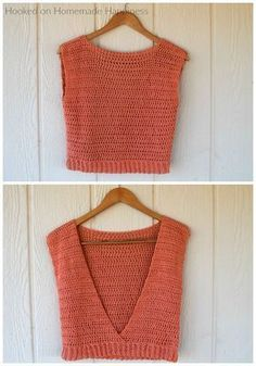 Crochet Blusas Patterns Summer Valley Top By Breann - Free Crochet Pattern - (hookedonhomemadehappiness) - How fun is this Summer Valley Crochet Top Pattern? The back is completely open, which makes it totally perfect for summer! Débardeurs Au Crochet, Pull Crochet, Mode Crochet, Crochet Hats, Diy Crochet Top, Beginner Crochet, Crochet Stitches, Crochet Ideas, Quick Crochet