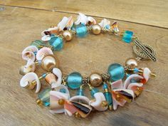 Sea Shell Jewelry Sea Glass Bracelet Charm by SeaShoreGifts