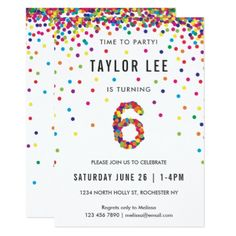 Rainbow 6th Birthday Party Sixth Card
