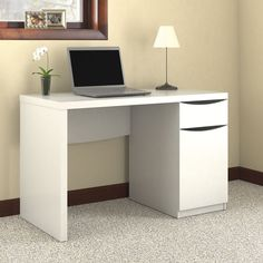 Montrese Closed Storage in Pure White Finish Computer Desk - Overstock™ Shopping - Great Deals on Bush Industries Desks. $153.66