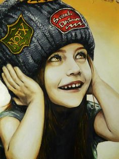"""""""Cuttie""""  Oil on canvas by Flopy Valhala #character #design #illustration #drawing #comics #conceptart #flopy #valhala #oil #canvas #realistic #girl #child #nofx #socialdistortion"""