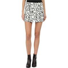Neil Barrett Pop Art Jacquard Skirt (White/Black) Women's Skirt ($187) ❤ liked on Polyvore featuring skirts, mini skirts, white, white and black skirt, zipper skirt, short skirts, black and white skirt and zipper mini skirt