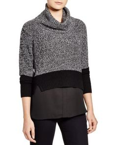 T Tahari Emily Layered Cowl Neck Sweater | Bloomingdale's