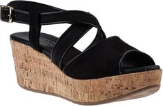 $186, Black Suede Wedge Sandals: Cordani Denton Wedge Sandal Black Suede. Sold by Jildor. Click for more info: https://lookastic.com/women/shop_items/35171/redirect