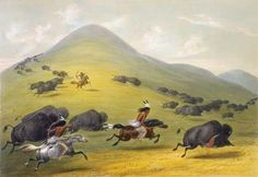 Great Plains Indians Buffalo   Photograph:Plains Indians hunt buffalo (bison) in a painting by George ...