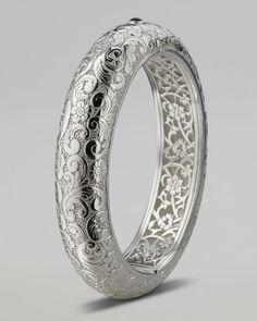 Floral-Carved Bangle - Monica Rich Kosaan ( Bracelets Bangle Silver Hinge snap back Silver - color)