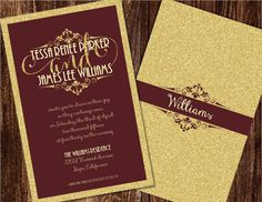 Burgundy and Gold Wedding Invitations Burgundy by Joyinvitations