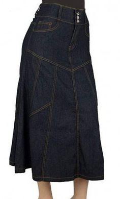 High Waist A-Line Long Jean Skirt