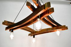Wine Barrel Stave Chandelier - Artessa - Made from reclaimed California wine barrels - Recycled Wine Barrel Crafts, Wine Barrel Rings, Wine Barrels, Wine Barrel Light, Wine Barrel Chandelier, Ring Chandelier, Whiskey Barrel Furniture, Barris, Barrel Projects