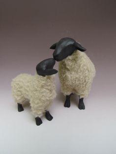 English Suffolk Sheep Nose to Nose Black Faced Sheep, Suffolk Sheep, Primitive Sheep, Lambs, Needle Felting, Goats, Artisan, British, Porcelain