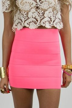 neon pink banded high waisted skirt and lace crop top