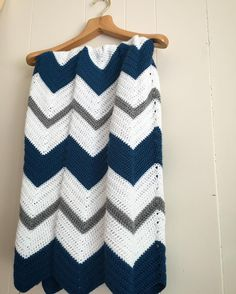 Love this teal and heather gray crochet chevron baby blanket!