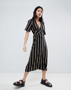 Pull&Bear | Pull&Bear Button Front Dress In Stripe