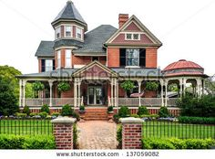 Victorian House with white background - stock photo