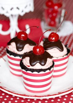 """Inspired by Valentine's Day and her own """"year of love,"""" Erica of Erica's Sweet Tooth decided to share her recipe for drool worthy Chocolate Cherry Cordial Cupcakes. The cakes are filled with cherry jam, and topped with a cherry buttercre Beautiful Cupcakes, Love Cupcakes, Yummy Cupcakes, Cupcake Cookies, Wedding Cupcakes, Sundae Cupcakes, Cherry Cupcakes, Vanilla Cupcakes, Wedding Cake"""