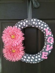 Pink Flower and Polka Dot Valentine Wreath