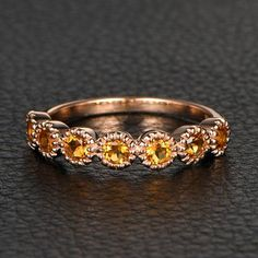 Citrine Wedding Band Half Eternity Anniversary Ring  14K Rose Gold 3mm Round - Lord of Gem Rings - 1