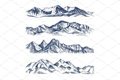 Hand drawn illustrations of different mountains landscape. Mountain travel, rock peak and highlands range vector Mountain Outline, Mountain Drawing, Landscape Illustration, Mountain Landscape, Different, Hand Drawn, How To Draw Hands, Around The Worlds, Illustrations