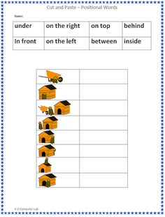 Cut and Paste - Positional Words