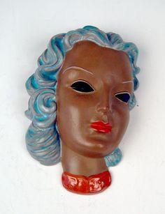 GOLDSCHEIDER WALL MASK WANDMASKE CREATED BY ADOLF PRISCHL VIENNA MADE CIRCA 1938-39