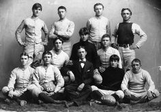 The first University of Texas - Austin football team, 1893.  Standing left to right : Ray McLane, James Morrison, J.H. Myer, R.E.L. Roy.  Kneeling left to right : Victor Moor, Paul McLane, J.W. Philip.  Sitting left to right: D. Furman, W.P. McLean, W.J. Crawford (Mgr) , R.U. Lee, Adison Day.