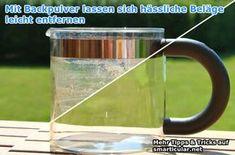 Kaffee- und Teebeläge entfernen und Trinkflaschen reinigen  Ob in der Thermoskanne, Trinkflasche aus Plastik oder Edelstahl, Tee-/Kaffekanne oder in der Tasse, mit Natron kannst du schnell und einfach hartnäckige Beläge von Tee und Kaffee reinigen.