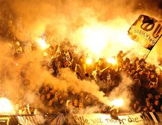 Red Star fans during Serbia's National Cup semi-final match against Partizan in Belgrade