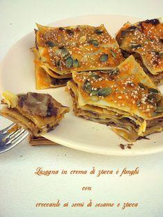 Lasagne di Zucca e Funghi con Croccante ai Semi