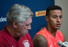 Bayern Munich's Thiago Alcantara holds a press conference with new coach Carlo Ancelotti in Charlotte North carolina on July 29 on the eve of...