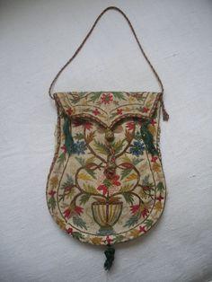Antique Georgian-Regency tambour embroidered wool reticule purse