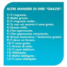 """Altre maniere di dire """"grazie"""".Perfeziona il tuo italiano con www.impariamoitaliano.com"""