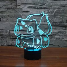 Pokemon Go Bulbasaur 3D Night Light 7 Color Change LED Desk Lamp Touch Button Room Decor - Pokemon Lamp