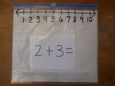 """Sharing Kindergarten: Number Line Ideas Such a simple idea and you can use the gliding tab to close the bag as your """"skipper"""" up or down the number line.  Check our her sight for more good ideas about number lines."""