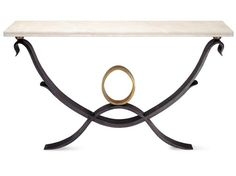 Ezra Console Table - Forged steel with limestone top, wall mounted. Cabinet Furniture, Metal Furniture, Unique Furniture, Forged Steel, Console Tables, Wall Mount, Consoles, Cabinets, Sculptures