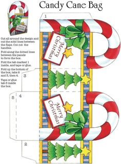 Candy cane bag template: