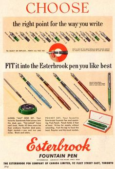 1954 Esterbrook Fountain Pens Right Point for Every Writer Vintage Print Ad