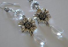 Crystal Clear Flower Dangle Earrings by 1989michelle on Etsy, $8.95