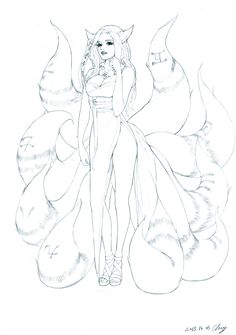 4 types of Nine-tails Foxes  This is the reference link of second sketch http://blog.naver.com/xcx7200/220816905499  Another sketches are drawn by my own design and poses