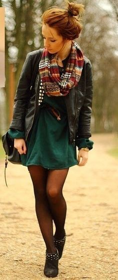 Fall fashion must haves. A great leather jacket and scarf to add fall to a great dress. Tights a must =p