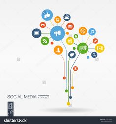 Abstract social media background with lines, connected circles, integrated flat icons. Growth flower concept with network, computer, technology, speech bubble icon. Vector interactive illustration