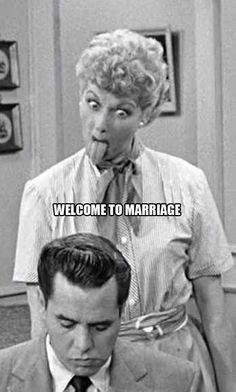 Welcome to Marriage - I Love Lucy Sticks Her Tongue at Ricky ---- best hilarious jokes funny pictures walmart humor fail I Smile, Make Me Smile, Hump Day Humor, Thursday Humor, Monday Humor, Funny Quotes, Funny Memes, Hilarious Jokes, Cartoon Quotes
