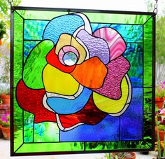 """Stained Glass Window Panel """"Picasso Rose"""""""